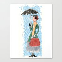 mary poppins Canvas Prints featuring Mary Poppins by Mai S. Kemble