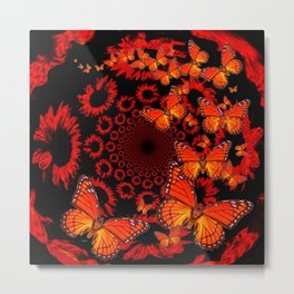 Awesome Decorative Monarch Butterflies on Black Metal Print
