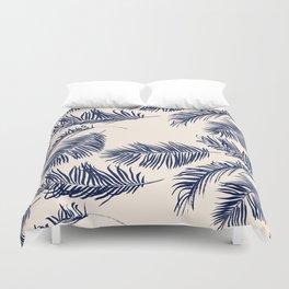 Blue Palm Leaves Pattern Duvet Cover