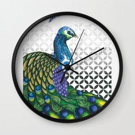 Peacock and Geometric pointillism print Wall Clock