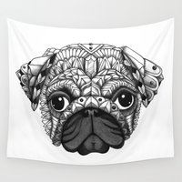 pug Wall Tapestries featuring Pug by Adrian Dominguez