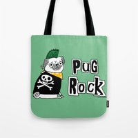 hiphop Tote Bags featuring Pug Rock by gemma correll