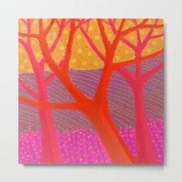 Three Red Trees Metal Print