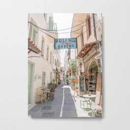 Street In Greece Photo | Pastel Village Houses Art Print | Europe Travel Photography Metal Print