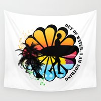surfing Wall Tapestries featuring Surfing by mark ashkenazi