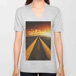 oregon road at dusk Unisex V-Neck
