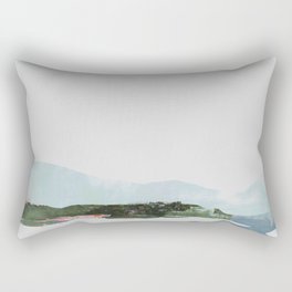Mountain Vista with Big Sky and River, Winterscape Rectangular Pillow