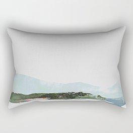 Mountain Vista with Big Sky and River, Winterscape Rectangular Pillow