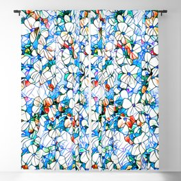 Glass stain mosaic 7 - flower, by Brian Vegas Blackout Curtain