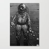 diver Canvas Prints featuring Diver by courtneybass