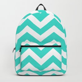 Turquoise - blue color -  Zigzag Chevron Pattern Backpack