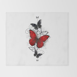 Red and Black Butterflies Throw Blanket