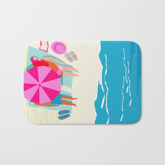 Toasty - memphis throwback minimal retro neon beach surfing suntan waves ocean socal pop art Bath Mat