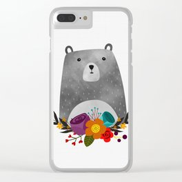 Bear Print Clear iPhone Case