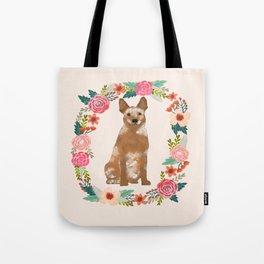 Australian Cattle Dog red heeler floral wreath dog gifts pet portraits Tote Bag