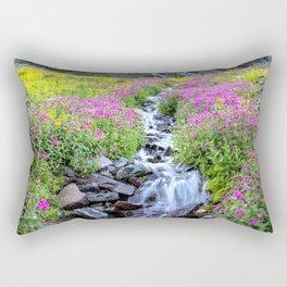Pink & Yellow Wildflowers Waterfall Wide Rectangular Pillow
