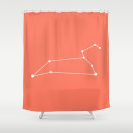 Leo Zodiac Constellation - Coral Red Shower Curtain