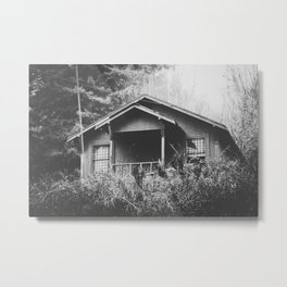 wooden house in the forest with rain in black and white Metal Print
