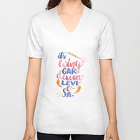 levi V-neck T-shirts featuring It's Wing-Gar-Dium-Levi-O-Sa by AliceInWonderbookland