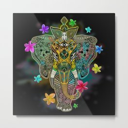 Elephant Zentangle Doodle Art  Metal Print