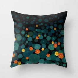 Nasturtium Garden Throw Pillow