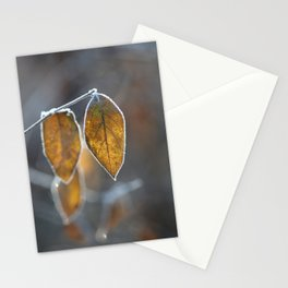Mustard Yellow and Brown Fall Leaves on Gray Stationery Cards