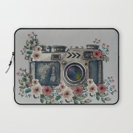 Camera with Summer Flowers Laptop Sleeve