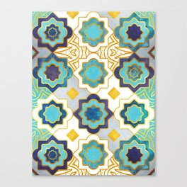 Marrakesh gold and blue geometry inspiration Canvas Print