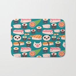 Kawaii sushi teal Bath Mat