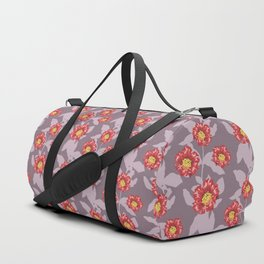 Hibiscus and pomegranate flowers in purple Duffle Bag
