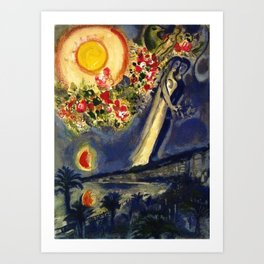 Lovers in the sky over Nice, France by Marc Chagall Art Print