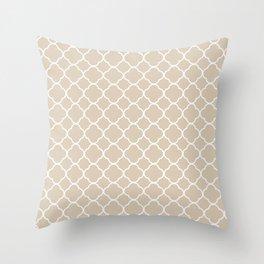 Clover Quatrefoil Pattern: Beige Throw Pillow