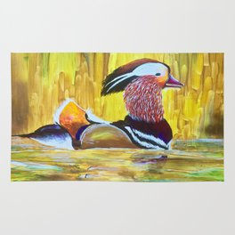 Colorful Mandarin Duck Floating on the water Rug