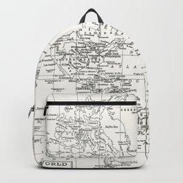 White World Map Backpack