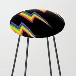Rainbow Bolts on Black Counter Stool