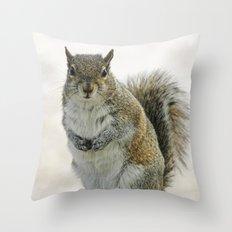 Gray Squirrel Throw Pillow