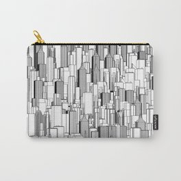 Tall city B&W / Lineart city pattern Carry-All Pouch
