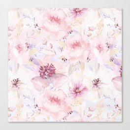Pastel Summer Flower Watercolor Pattern Canvas Print