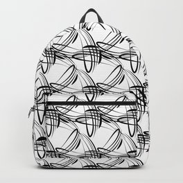 Pattern from black lines on a white background in vintage style. Backpack