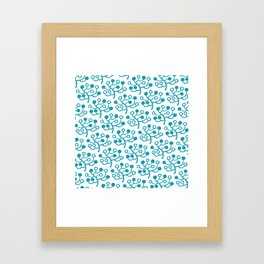 Mid Century Modern Berries Pattern turquoise Framed Art Print