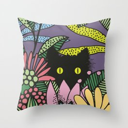 Cat in the Garden playing Hide and Seek Throw Pillow