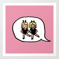 Hand-drawn Emoji - Two Women Dancing Art Print