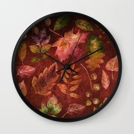My favorite color is october- Colorful autumnal leaves pattern Wall Clock