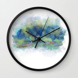 Blue Trees, Yellow Kisses Wall Clock