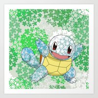 squirtle Art Prints featuring Squirtle by Mischievie