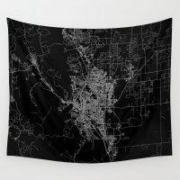 colorado Wall Tapestries featuring Colorado Springs map Colorado by Line Line Lines