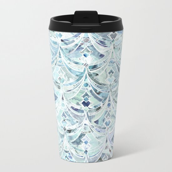 Ice and Diamonds Art Deco Pattern Metal Travel Mug