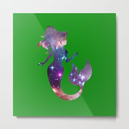 Galaxy Mermaid (Green) Metal Print