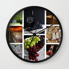 Home Bar Decor - Wine Vineyard Collage Wall Clock