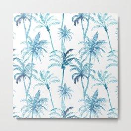 Watercolor Blue Palm Trees Metal Print